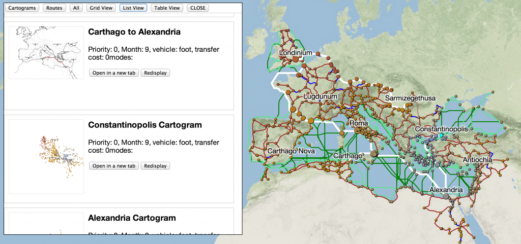 The cartograms and routes you've run are now displayed as a list, table or grid for easy review, and also provide static images of each
