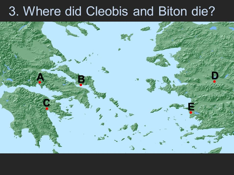 Screenshot of a slide used for an iClicker quiz in conjunction with the Hestia narrative timemap of Herodotus' Histories. The multiple-choice letters correspond to different locations.