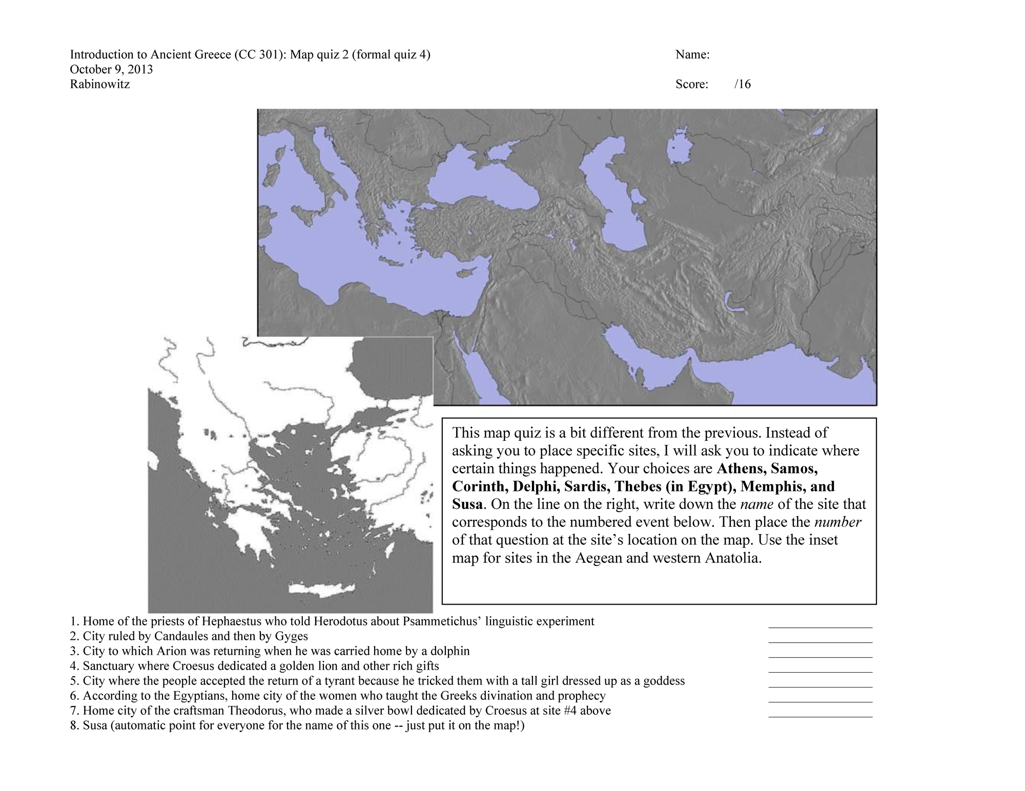 "A map quiz for the course ""Introduction to Ancient Greece"" taught at UT Austin in Fall 2013: it asks students to associate places with events in Herodotus' Histories."